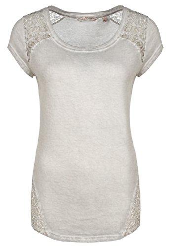 Fresh Made Damen Shirt mit Spitze Einfarbig | Frauen T-Shirt Uni mit Spitzeneinsatz und Rundhals-Ausschnitt Light-grey1 S