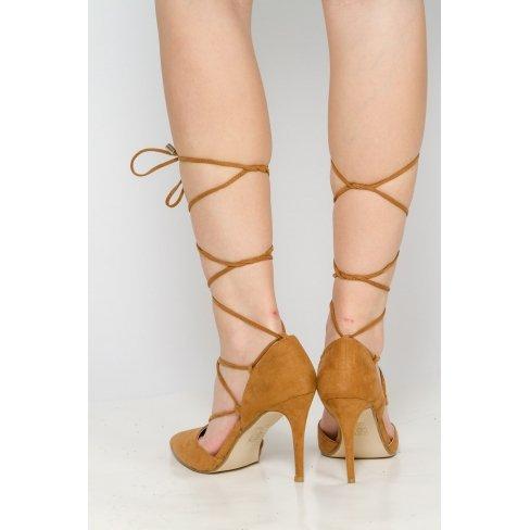 Princesse boutique - Escarpins camel à lacets Camel