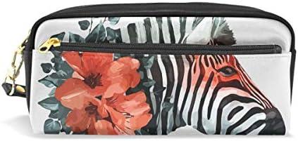 Bonipe aquarelle aquarelle aquarelle Zebra avec motif floral rouge Trousse Pen Box Pochette Sac d'école papeterie Fournitures de voyage Cosmétique Sac de maquillage B07KW2VW51 | Soyez Bienvenus En Cours D'utilisation  b19c1b