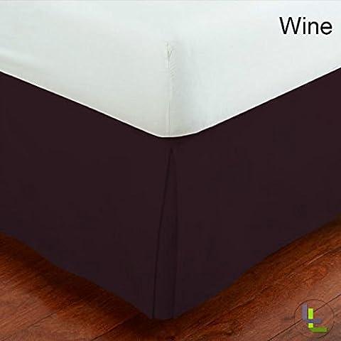 1Split Ecke, Bett Rock massivem Muster 30,5cm (30cm) Drop Länge tailliert 100% ägyptische Baumwolle Fadenzahl 600alle Größen & Farben., Ägyptische Baumwolle, Wein, UK King (5 ft x 6ft 6in)