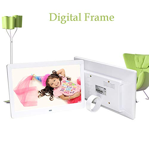 10.1 Zoll Digital Photo Frame, 1024 × 600 HD Picture Video-1080P Frame mit Motion Sensor, MP3-Musik, unterstützt Multiple File Formats und Externe USB-SD-Speicher,White Motion Pictures Hd