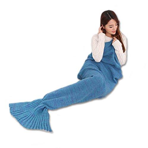 Mermaid Blanket, ElecForU Handgemachte Gestrickte Nixeendstück Decke Sofa Quilt Wohnzimmer Decke für Erwachsene und Kinder, Alle Saison Schlafsäcke