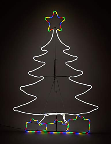Neon Licht LED Tannenbaum 113x85 cm - 900 LED - Lichtschlauch Weihnachtsbaum beleuchtet Außen