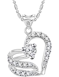 VK Jewels Sensational Heart Silver Plated Alloy CZ American Diamond Pendant With Chain For Girls & Women [VKP3076R]