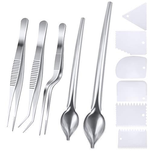 SelfTek 5 piezas Pinzas de cocción de acero inoxidable Pinzas de precisión con puntas dentadas, cucharas de dibujo culinarias y 6 piezas de plateado de plástico Juego de cuña para decorar platos