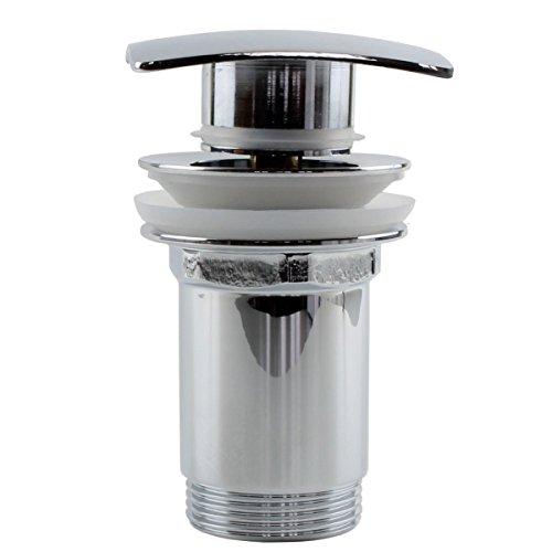Design Ablaufgarnitur rechteckig / quadratisch mit Klick-Verschluss ( Po-Up / Push Open) für Waschbecken - Messing verchromt Standard Anschlüsse mit Überlauf