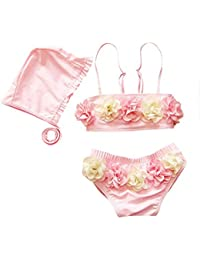 Moollyfox Bikini Niñas Traje de Baño de Dos Piezas Flores Bañador Tankini con Sombrero Conjunto Infantil para 1 - 8 Años