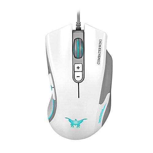 bengoo ergonomico mouse ottico cablato mouse da gioco con 7Tasti e fino a 4800DPI per Mackbook PC portatili desktop-white