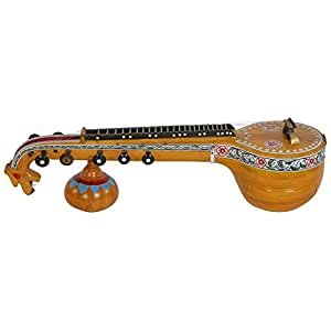 Lakshman Sruthi Showpiece / Miniature Veena, Yellow