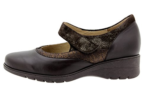 Chaussure femme confort en cuir Piesanto 9957 Mary Jean confortables amples Caoba