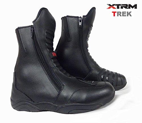 XTRM Nuovi Stivali Moto da Uomo Trek Stivali da Viaggio Urbani Touring Stivali di Pelle Scarponi Corti, Nero (EU 41- UK 7)