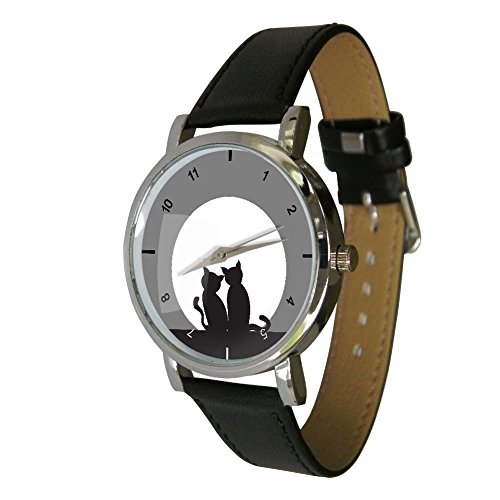 Your Watch Design Unisex Uhr Erwachsenengröße Analog Quarz mit Leder Armband Cats 4