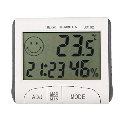 Gellvann LCD Raumthermometer Mini LCD Digital Indoor Thermometer Hygrometer Temperatur Feuchtigkeitsmesser Uhr Schreibtisch Wetterstation mit Magnet Stand - Schreibtisch-uhr Temperatur Mit