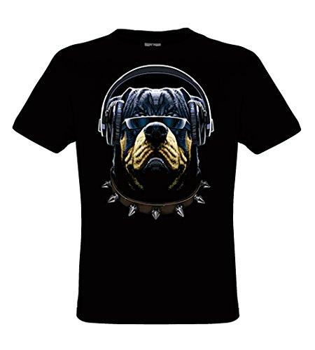 DarkArt-Designs DJ Cool - Hunde T-Shirt fŸr Kinder und Erwachsene - Tiermotiv Shirt Wildlife Musik Party&Freizeit Lifestyle regular fit, Grš§e M, schwarz (Erwachsene Schwarz T-shirt Hund)