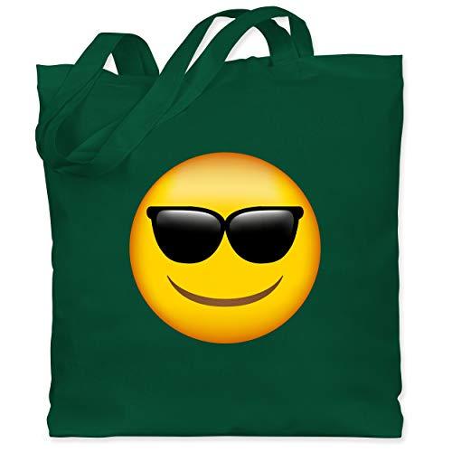Comic Shirts - Emoji Sonnenbrille - Unisize - Dunkelgrün - WM101 - Stoffbeutel aus Baumwolle Jutebeutel lange Henkel