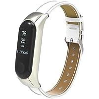 Reloj Xiaomi Band 3, Zolimx Reemplazo Pulsera Banda Correa + Metal Caso Cubierta para Xiaomi Mi Banda 3 Pulsera (Longitud: 170-220mm, Blanco)