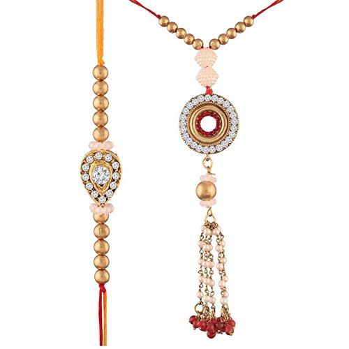 I Jewels Gold Plated Stone Studded Bhaiya Bhabhi Rakhi Set (R615CO)