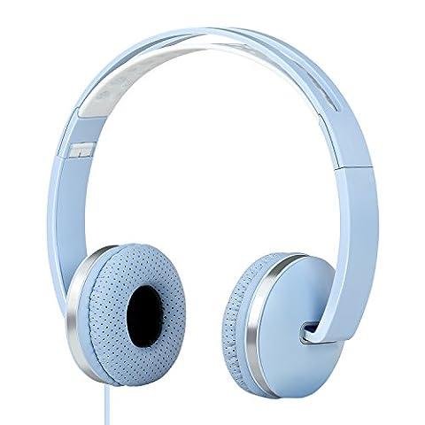 Gorsun Casque Audio Sport stéréo Casque pliable avec Microphone et Contrôle du Volume sur l'oreille Écouteurs pour iPhone iPad iPod Smartphones PC Laptop Mac Mp3(bleu clair)
