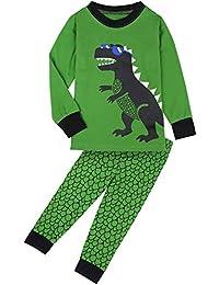 Fancyinn Chicos Dibujos Animados Conjunto de Pijamas de Estampado de Dinosaurios 100% algodón Set de