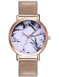 SSITG Mujer Reloj Hombre Reloj DE Pulsera Cuarzo Reloj analógico Reloj Malla Banda mármol Flores