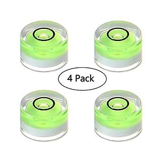 KOBWA Circular Bubble Spirit Level Measuring Tools, 4 Pcs Acrylic Mini Standard Spirit Bubble Level Degree Mark Set for RVs, Camera, Tripod, Construction, Home, Etc (10x10x6mm)