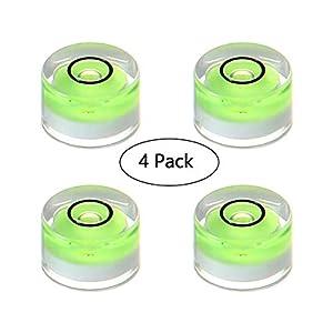 leegoal Burbuja Nivel de Burbuja, Inclinómetros de Nivel Circular, pequeño Disco Burbuja Nivel de medición Herramientas para trípode/Pro medición/cámara – 4 Piezas