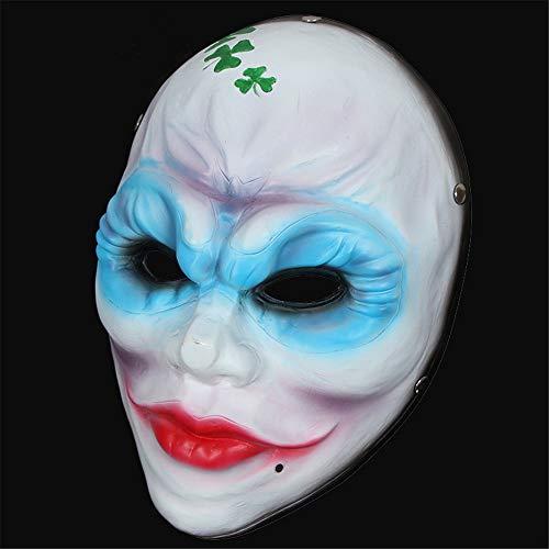 Räuber Kostüm Weibliche - NUOKAI Halloween Harz Clown Maske, weibliche Räuber