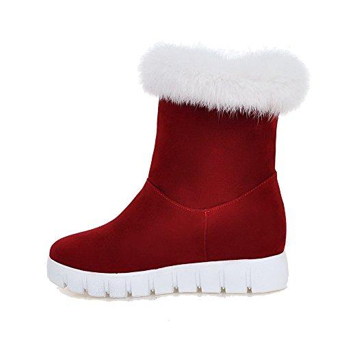 AgooLar Damen PU Niedrig-Spitze Ziehen auf Hoher Absatz Stiefel, Rot, 35