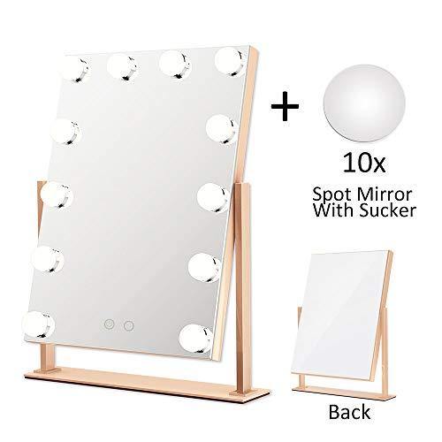ElectriBrite Beleuchtete Schminkspiegel, Kosmetik Make-up Spiegel mit dimmbaren LED, Hollywood Make-up Kosmetikspiegel mit Lichtern 12 x 3W Tischspiegel mit Touch Control - Roségold