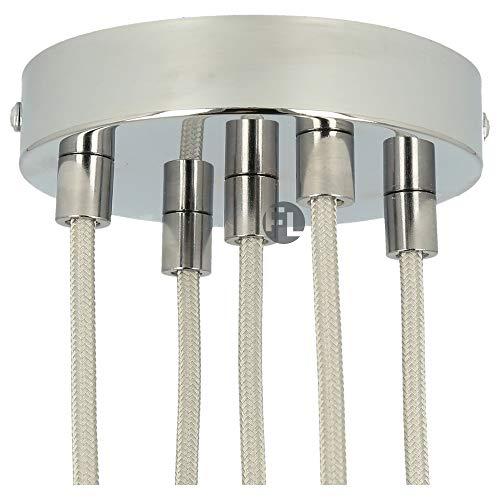 Flairlux Baldachin 5-fach chrom zur Montage von Pendelleuchten   Lampenbaldachin für alle Lampen geeignet   zur Lampenaufhängung an der Decke   Deckenrosette 120x25 mm inkl Metall Klemmnippel