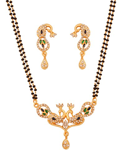 Touchstone gold tone Indian bollywood ethnic peacock meenakari diamante mangalsutra necklace set jewelry for women