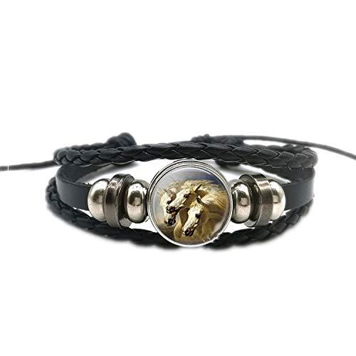 CNSP VIVIZEY Armband Armreif,Schmuck Geschenk,Fashion Horse Snap Bracelet Men Women Braided Bracelet Pu Leather Wristband Handmade Gift for Friends Boyfriend Valentines Day -