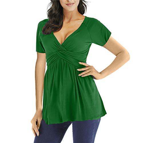 Sanahy Damen T-Shirt Sommer V-Ausschnitt, Tunika Lose Oberteil Asymmetrisch Bluse Tops Falten Volltonfarbe Lässige Top Bluse Kurzarmshirt Tank Top