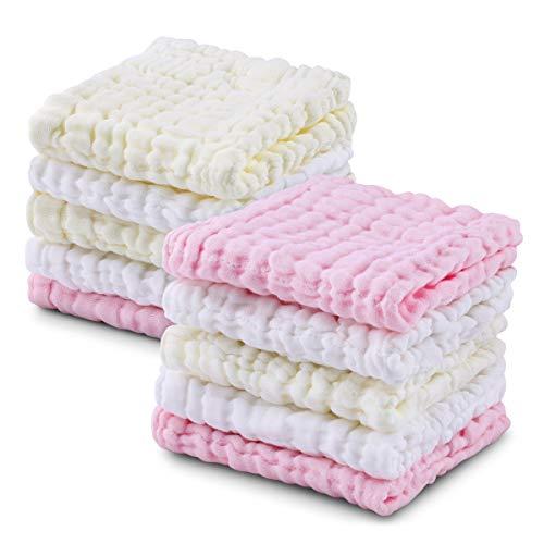 Baby Musselin Waschlappen, weiche neugeborene Baby Gesichtstücher, Mehrzweck-natürliche Baumwolle Baby Wipes (10 pack B)