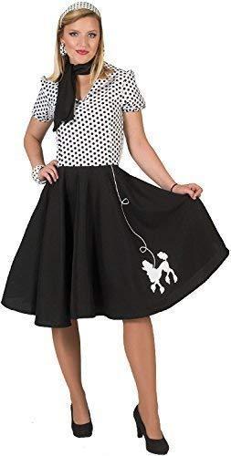 Damen 1950s Jahre 50s Jahre Pudel Rock Kleid Tv Buch Film Vintage Retro Henne Do Abend Party Kostüm Kleid Outfit (Pudel Rock Kostüm Für Damen)