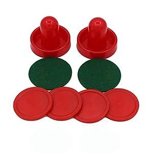 Sanzhileg Startseite Standard Mini Air Hockey Ersatz 76mm 2 Pusher Goalies 4 Pucks Filz Set für Spieltische Ausrüstung – Rot 76mm
