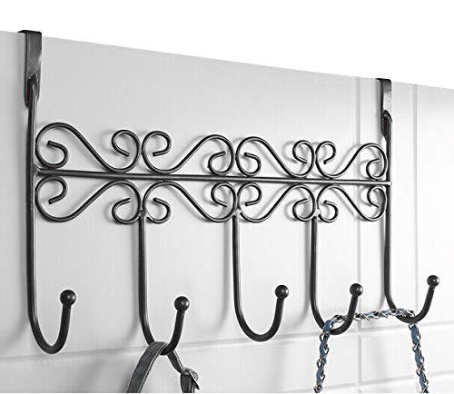 PerriRock 5 Kleiderbügel - Dekorative Metall-Türhaken Kleiderhaken für Zuhause, Büro, Küche, Garderobe, Garderobe, Schwarz -