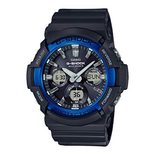 Casio G-Shock Analog-Digital Herrenarmbanduhr GAW-100B blau schwarz, Solar und Funkuhr, 20 BAR