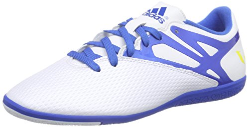 adidas Messi 15.3 In, Chaussures de football homme Blanc - Weiß (Ftwr White/Prime Blue S12/Core Black)