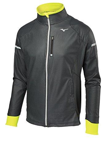 Mizuno Running Herren Statische Atem Thermo Softshell Jacke, Herren, 421574, schwarz/gelb, M Cold Weather Running Jacket