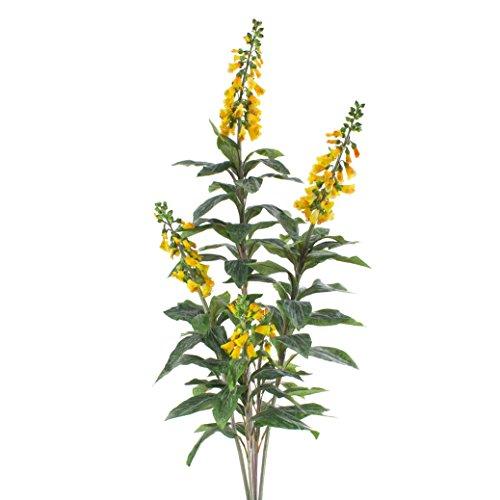artplants - Kunstblume Fingerhut mit 80 Blättern, 5 Blütenrispen, gelb, 140 cm - Deko Pflanze mit Blüten/Blumen künstlich
