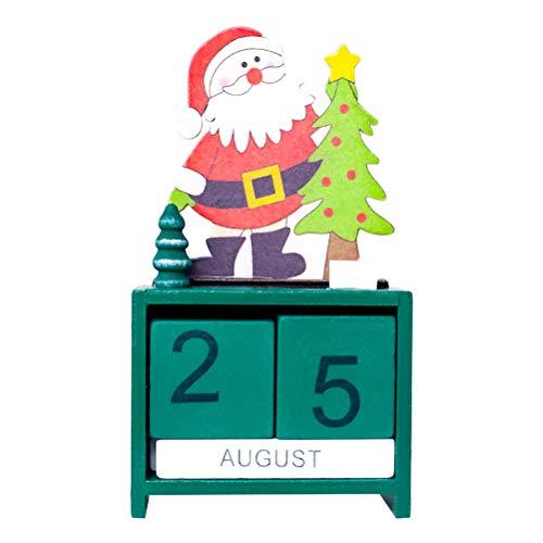 Toyvian Adventskalender Holz Würfel Weihnachtsmann Countdown Dauerkalender Weihnachten Tisch Deko (Grün)