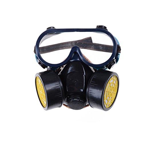 finlon Schutz Filter Dual Gas Maske chemischen Gas Anti Staub Farbe Atemschutzmaske Gesichtsmaske mit Brillen Industrie Sicherheit Notfall Survival Sicherheit Atemwege Gas Maske Dual Schutz Filter