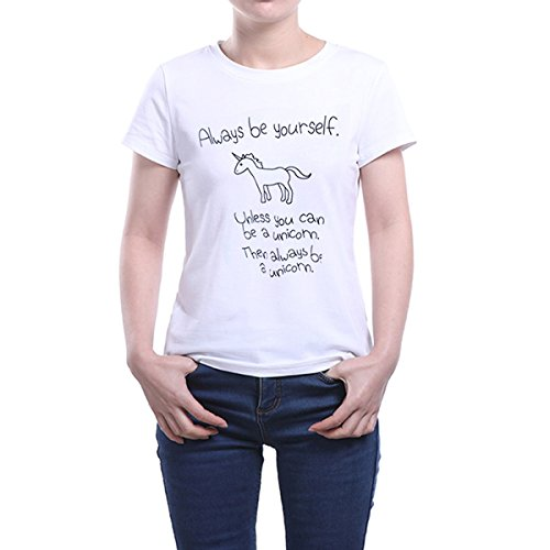 Unicorn Graphic Tees O-Neck Novelty T-Shirts Letters Print Short Sleeve Tops