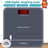 HESLEY DIGITAL USB RECHARGABLE WEIGHING SCALE FOR HUMAN BODY - 180 KGS HIGH ACCURACY/Temperature Display