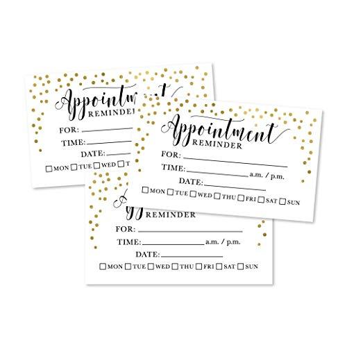 50 Gold Konfetti-Erinnerungskarten für Termine, Next Apt. Personalisierte Blanko-Erinnerungsnotizen mit medizinischem Arzt, Dental, Salon, Therapie, Hundepflege, Reinigungsgeschäft, personalisierbar