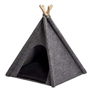 MYANIMALY TIPI Zelt für Haustiere 60 x 60 x 70(H) cm (+/- 3cm), Hundezelt, Katzenzelt, Haustierbett, Haustierhütte für Hunde und Katzen mit beidseitig anwendbarem Kissen, Gestell aus Kiefernholz