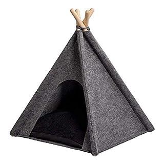 ANIMALY TIPI Zelt für Haustiere 60 x 60 x 70(H) cm (+/- 3cm), Hundezelt, Katzenzelt, Haustierbett, Haustierhütte für Hunde und Katzen mit beidseitig anwendbarem Kissen, Gestell aus Kiefernholz