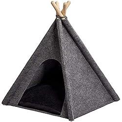 ANIMALY TIPI tente pour animaux 60 x 60 x 70 (hauteur) cm (+/- 3cm), tente pour chien et chat, panier pour animaux, maisonnette, coussin réversible/tapis, design moderne, montage rapide