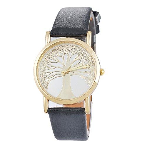 Souarts Damen Retro Stil Schwarz Lebensbaum Armbanduhr Quartzuhr Analog Armreif Uhr mit Batterie